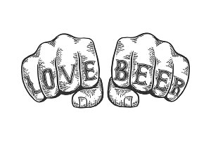 Love beer words fist tattoo vector