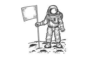 Spaceman on moon with flag vector