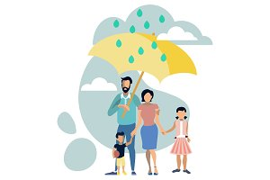 Family with umbrella metaphor vector