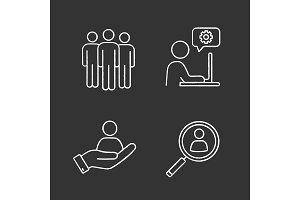 Business management chalk icons set