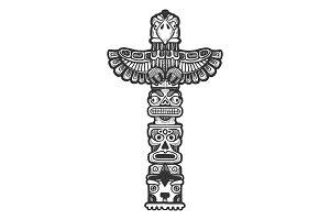 Maya totem engraving illustration