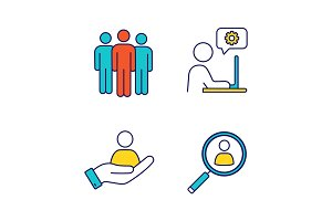 Business management color icons set