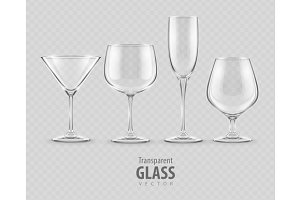 Set of transparent glass goblets