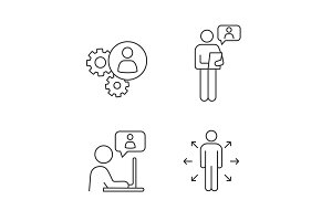 Business management linear icons set
