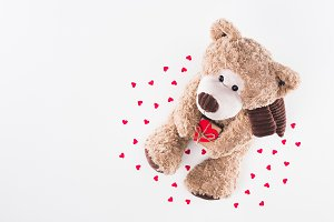 top view of teddy bear with heart sh