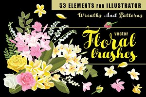 53 Floral brushes for Illustrator