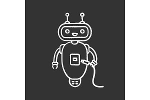 Chatbot with USB cable chalk icon