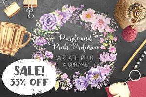 SALE - 33% off: Purple & pink wreath