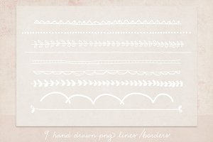 9 PNG borders/lines clipart