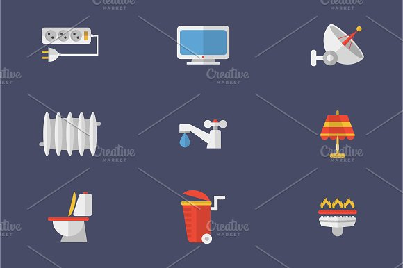 Set Of Icons Electricity, Heating... - Icons