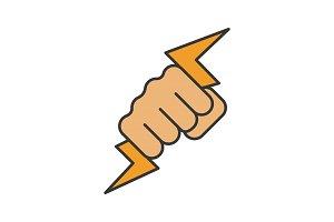 Hand holding lightning bolt icon