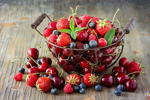 Fresh berries mix, summer vitamins