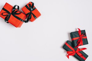 top view of wrapped gifts isolated o