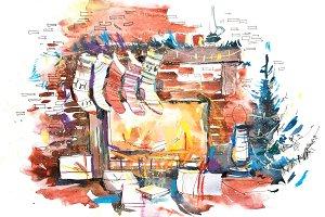 Decorated burning fireplace