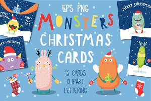 Cute Monsters Christmas Cards Set