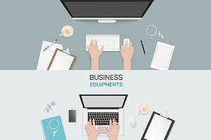 Office object business activity flat