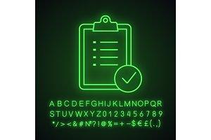 Task planning neon light icon