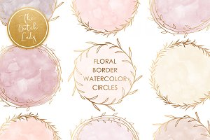 Watercolor Circle Border Clipart Set
