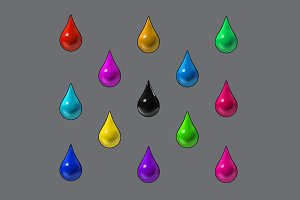 Colorful raindrops vector. Mesh.