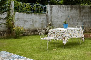 Chair and table decoration in garden