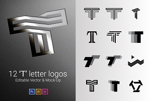 12 T Letter Logos - Vector & Mock-Up