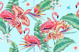 Tropical flowers,flamingo pattern
