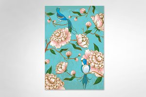 peonies and birds illustration
