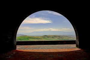 Charents Arch, view to Ararat mounta