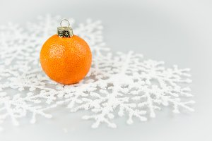Tangerine as a xmas ball on