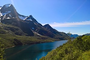 Panorama view to Nordfjorden and Sva