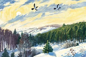 Winter landscape and two magpies