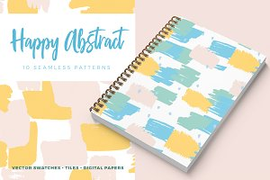 Happy Abstract Seamless Patterns