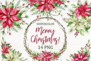 Christmas Watercolor Clip Art.