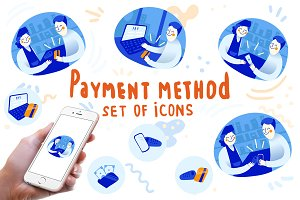 Payment method set of icons