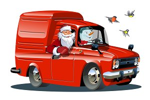 Cartoon retro New Year's van