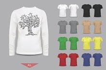 Big set of male and female t-shirts