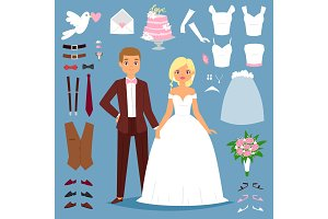 Cartoon wedding bride and groom