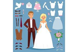 Cartoon wedding bride and groom