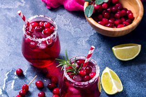 Cranberry cocktail, cold drink