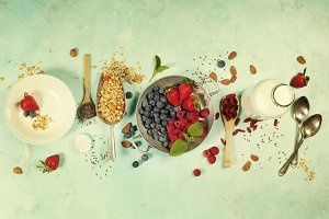 Healthy Breakfast set with granola,