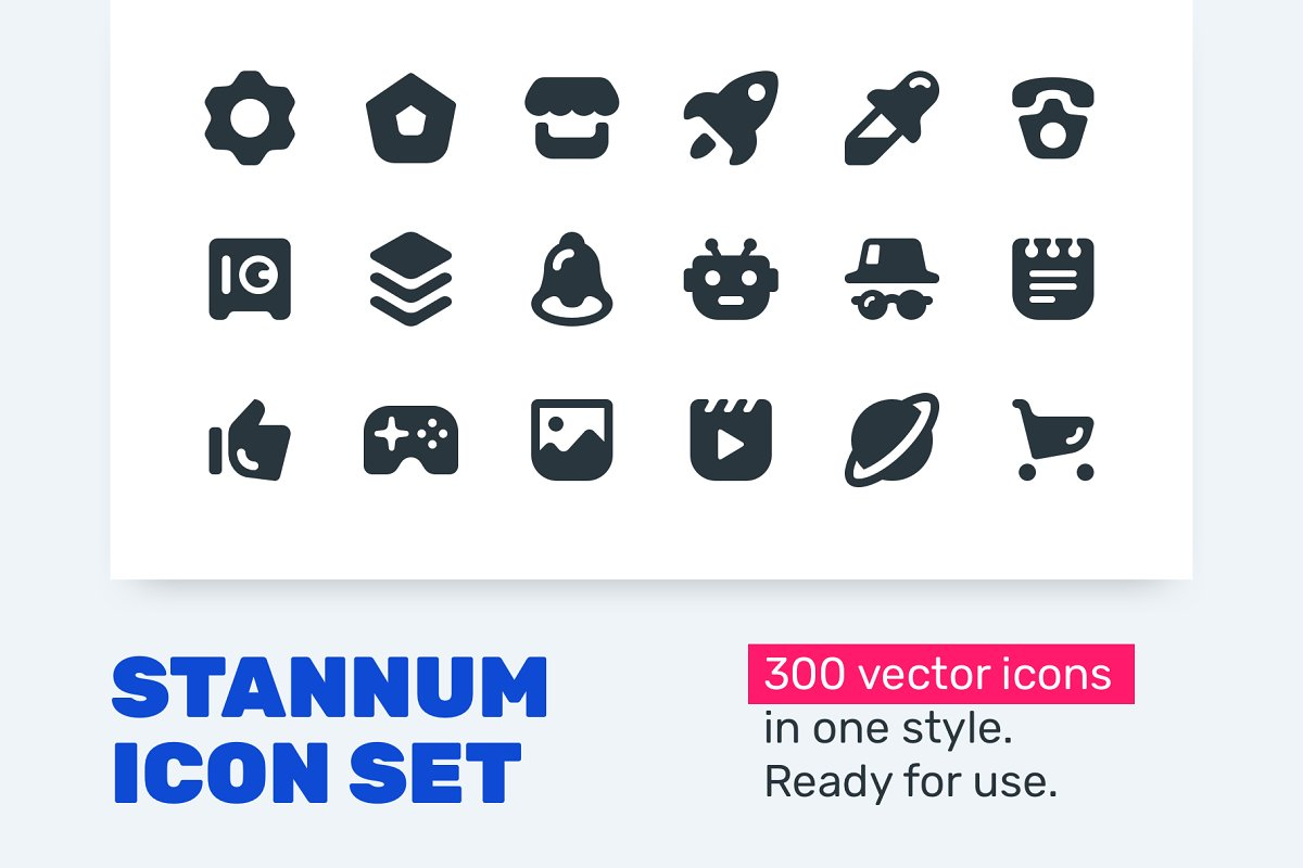 Stannum Icon Set - 300 Solid icons!
