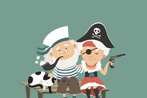 Old sailor sitting with his pirate