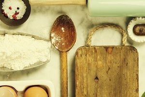 Top view on cooking ingredients and