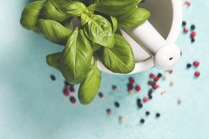 Basil leaves with Mortar and Pestle
