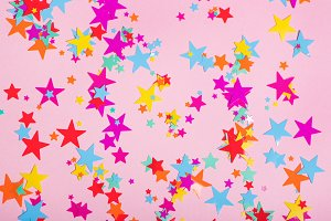 Colorful confetti in shape of stars