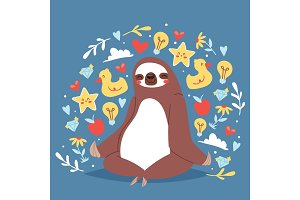 Funny sloth sitting in yoga lotus