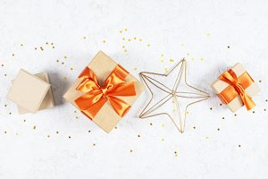 Craft gift boxes and golden stars