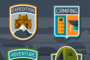 Set of tourist camping badges.