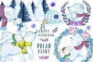 Watercolor Polar Bears clipart