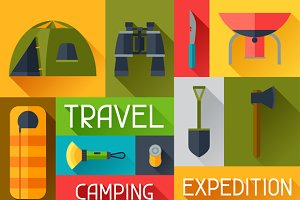 Backgrounds with camping equipment.